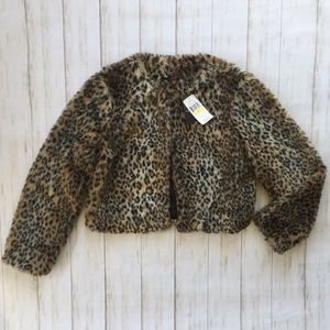 NWT Animal Print Faux Fur Jacket